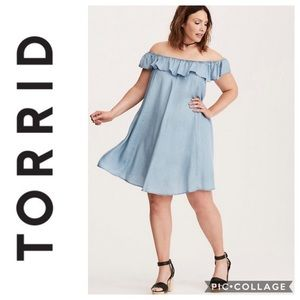 Torrid Tencel Off Shoulder Dress Sz 2X